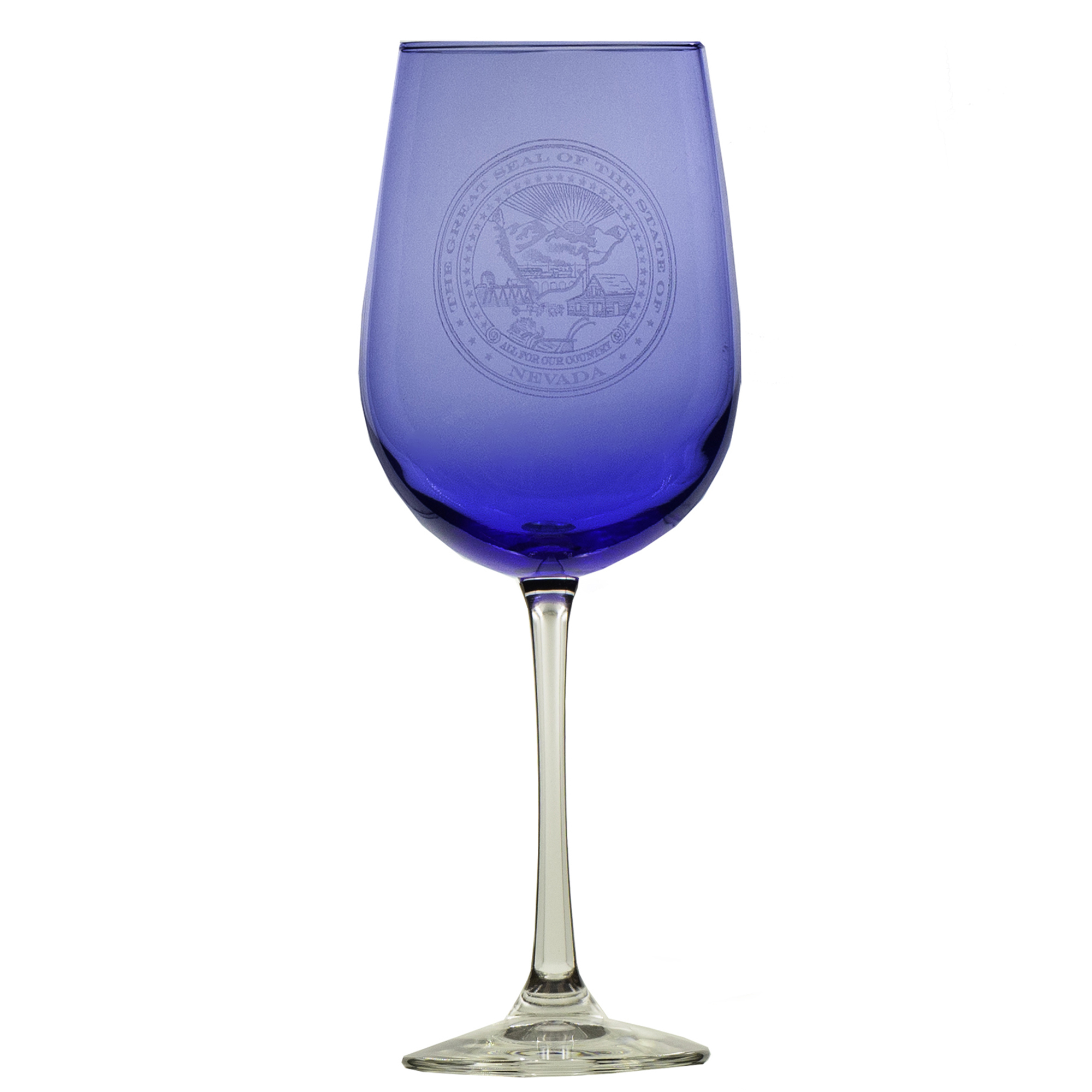 Nevada Revised Statutes >> Cobalt Blue Wine Glass with Nevada State Seal