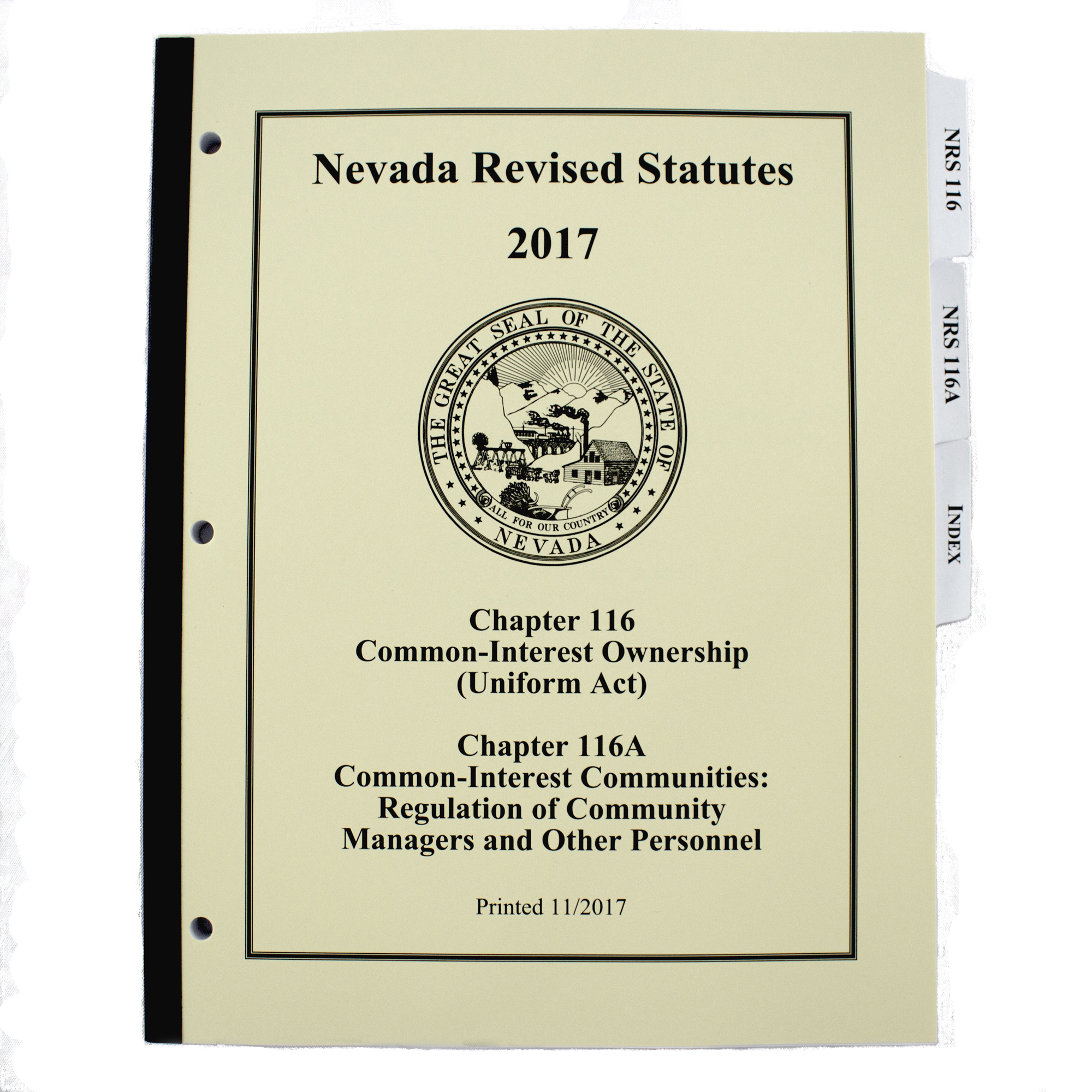 Nevada Revised Statutes >> Nrs Chapter 116 116a Booklet With Index