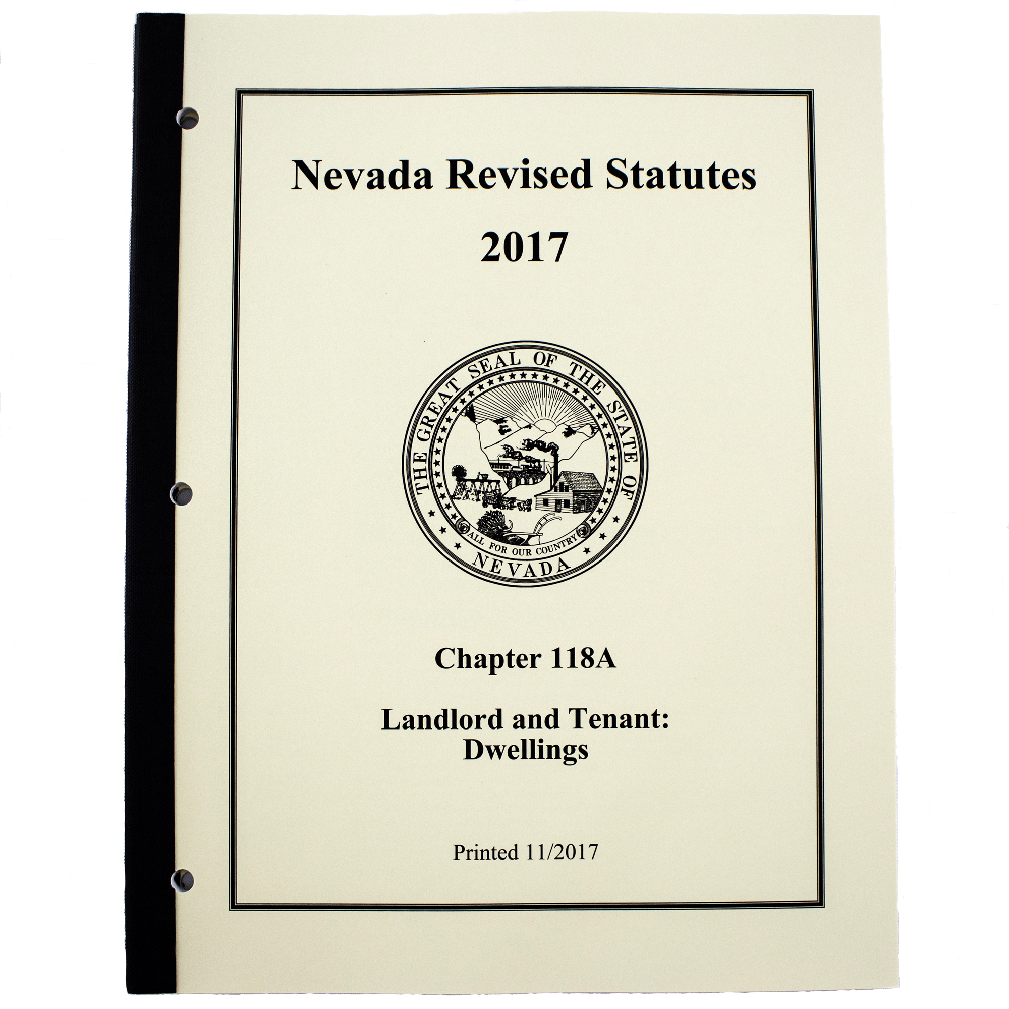 Nevada Revised Statutes >> Nrs Chapter 118a Landlord And Tenant Dwellings Booklet With Index