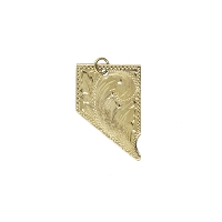 Pendant - Hand Tooled 14K Gold Nevada State Shaped Pendant