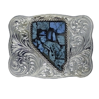 Belt Buckle - Sterling Silver Belt Buckle with the Nevada Counties Highlighted in Turquoise
