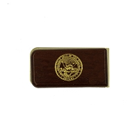 Money Clip - Nevada State Seal on a Rosewood Faced Gold Metal Money Clip