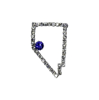 Pin - Nevada State Shaped Brooch Outlined with Crystal Rhinestones and a Blue Sapphire at the Location of the State Capital