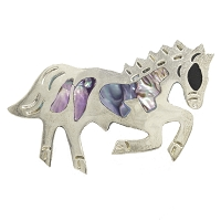 Brooch - Horse with Abalone Shell Inlays