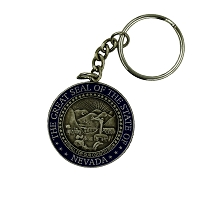 Key Chain - Nevada State Seal Key Chain with Silver and Blue