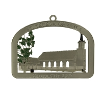 2007 - St. Teresa of Avila Silver and Green Ornament - The Historical Buildings Ornament Collection of Carson City, Nevada