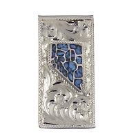 Money Clip- Nevada Shape with County Lines-crushed Turquoise and Silver