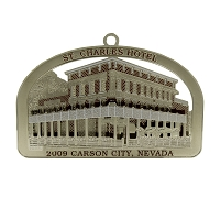 2009 - St. Charles Hotel Silver and Red Ornment - The Historical Buildings Ornament Collection of Carson City, Nevada