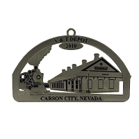 2010 - V & T Depot Silver and Blue Ornament - The Historical Buildings Ornament Collection of Carson City, Nevada