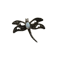Pin - Sterling Silver Dragonfly Brooch with Opal