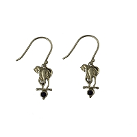 Earrings - Silver Striding Horse with Lapis Wires