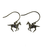 Earrings - Sterling Silver Running Jawan Horse with Iolite Stones