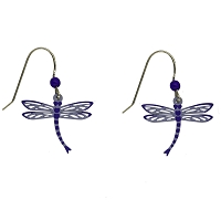 Earrings - Dragonfly Wires Blue Metal