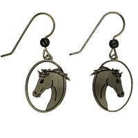 Earrings - Silver Oval Horse Wires