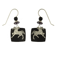 Earrings - Silver Metal Horse Wires  on Black Background