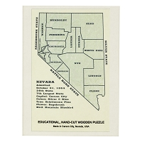 Educational, Hand-Cut Wooden Puzzle of Nevada Counties