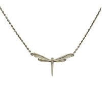 Necklace - Sleek Sterling Silver Dragonfly Pendant and 16