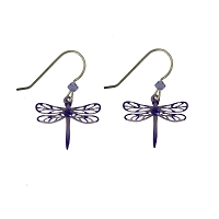 Earrings - Purple Dragonfly Earrings with Rhinestone and Bead