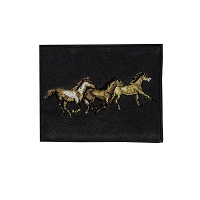 Leather - Billfold Wallet - 3 Running Horses - Black