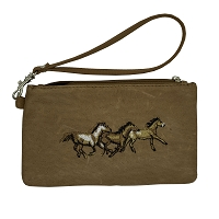 Leather - Wristlet - 3 Running Horses - Tan