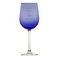 Cobalt Blue Wine Glass with Nevada Legislative Seal - 19 oz.