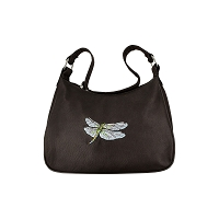 Leather Hobo Dragonfly Handbag - Brown