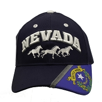 Cap - Nevada with Horses in white with Navy Blue and Battle Born Logo on the Brim