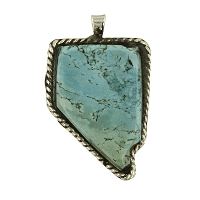 Pendant - Solid Turquoise Pendant in the Shape of Nevada Outlined in Sterling Silver Rope