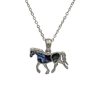 Necklace - Silver Horse Pendant with Shell Inlays and 18