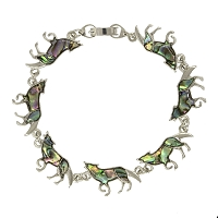 Bracelet - Howling Wolf with Shell Inset