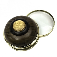 Dark Colored Wood Paperweight with Magnifier with a Nevada State Gold-tone Quarter on Top