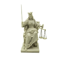 Lady Justice - Seated Crowned Lady Justice Cold Cast Resin Hand Painted