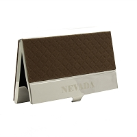 Business Card Holder - Nevada - Brown Leather