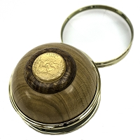 Light Colored Wood Paperweight with Magnifier with a Nevada State Gold-tone Quarter on Top