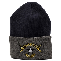 Nevada Knitted Cap with the Nevada Battle Born Logo - Navy and Gray