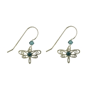 Earrings - Mini Dragonfly Earrings with Blue Zircon
