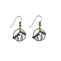 Earrings - Blue and Green Twin Dragonfly Disc Earrings