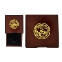 Rosewood Coin Box with Drawer - Cut Out Insert for Bronze Medallion 1 11/16
