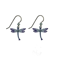 Earrings - Blue Dragonfly with Ice Blue Rhinestone