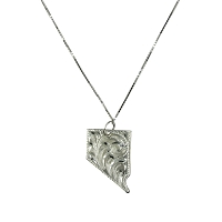 Pendant - Hand Tooled Silver Nevada State Shaped Pendant on 18