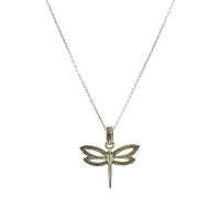 Necklace - Delicate Sterling Silver Dragonfly with Beaded Trim on a Chain