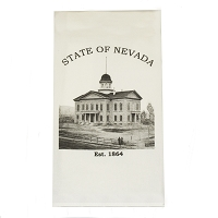 Tea Towel with Nevada Capitol Building - Black & White