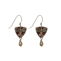 Earrings - Dragonfly Silver with Pink Floral Triangle
