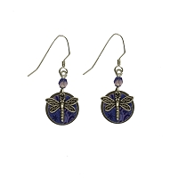 Earrings - Dragonfly Nickel Disc Blue Print with Black