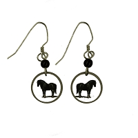 Earrings - Round White Disc with Black Horse
