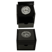 Clock in a Box  - Carbon Fiber Box with the Silver Nevada State Seal on the Top