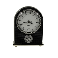 Clock - Carbon Fiber Arched Clock with the Nevada State Seal in Silver Fill
