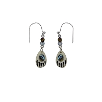 Earrings - Inlay Bone Bear Paw