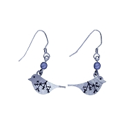 Earrings - Silver Bird - Wire