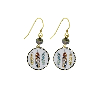 Earrings - Disc Feathers - Wire